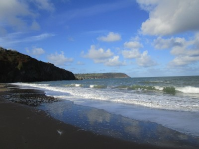 Tresaith beach and pub off the A487, Wales - Driving with Dogs