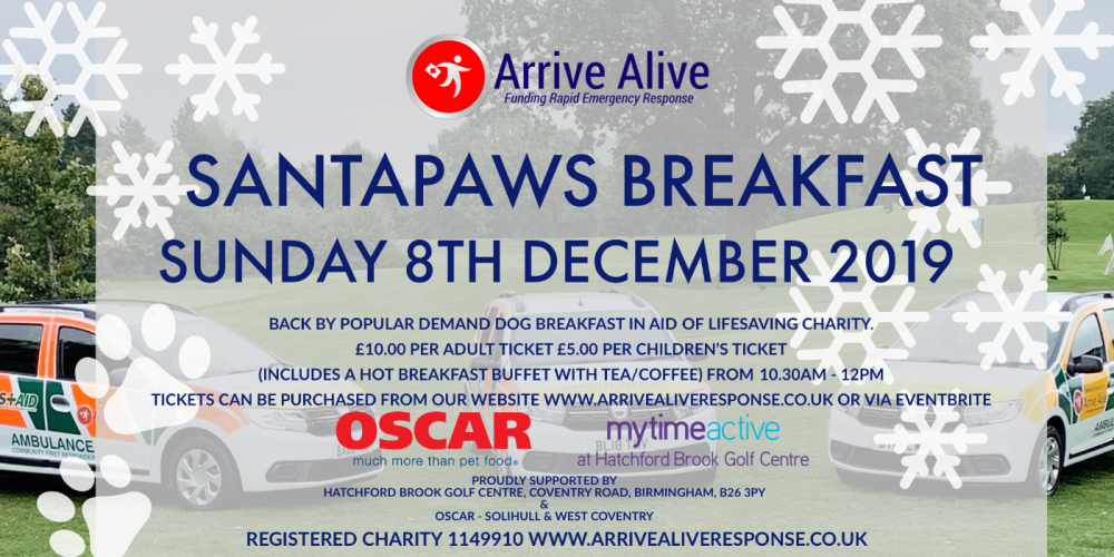 Join the SantaPaws breakfast for ArriveAlive - Solihull