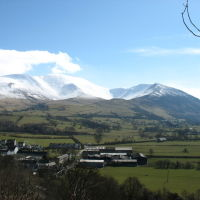 Lake District dog walk and traditional dog-friendly pub, Cumbria - Bassenthwaite village and Skiddaw.jpg