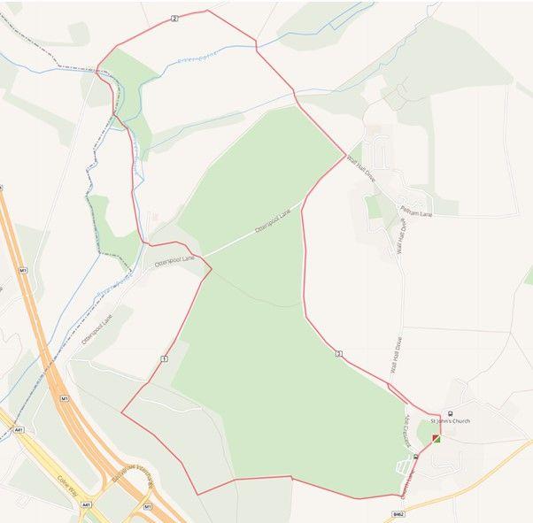 Berrygrove Woods dog walk in Hertfordshire, just off the M1, Hertfordshire - Aldenham Walk Route.jpg